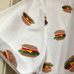 🍔🍔 One Resolution Burger Print Button Down 🍔🍔